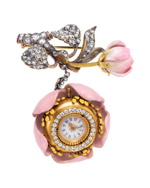 TIFFANY Late 19th century ladies' watches were often disguised as musical instruments or nestled in blooming flowers of enamel, gold and diamonds. A lapel watch by chief Tiffany designer Paulding Farnham (1859-1927) was inspired by a twig from a blossoming apple tree. The watch was part of Tiffany's gold-medal exhibit at the 1889 Paris World's Fair.