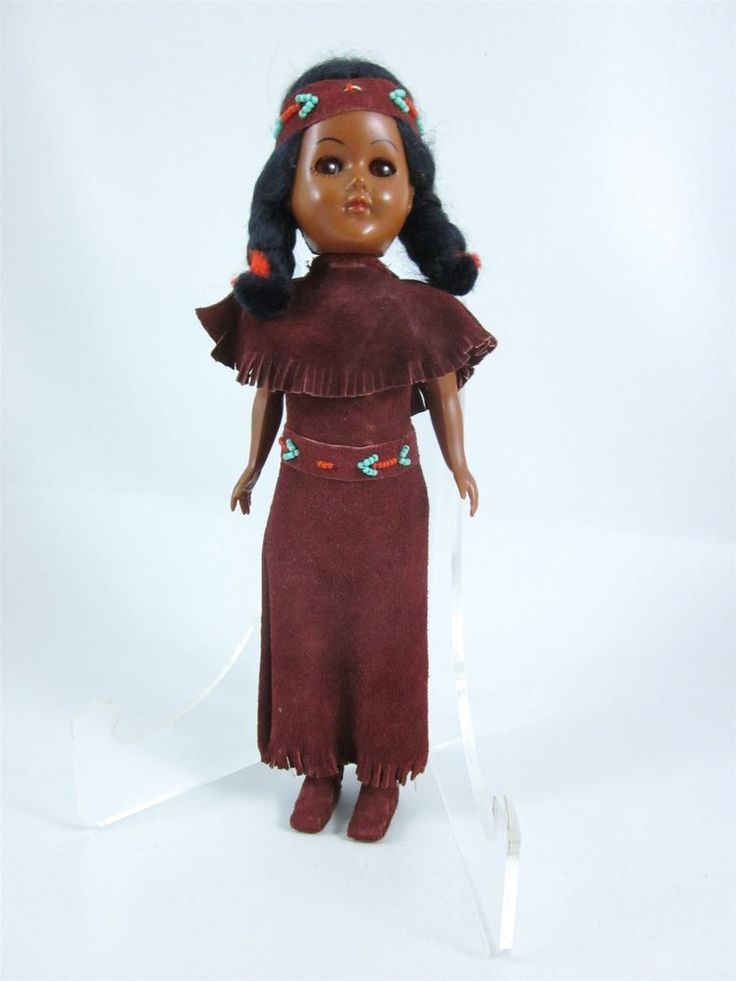 Vintage Native American Indian Doll with Suede Outfit and Papoose on Her Back #Dolls