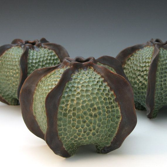 CONTAINERS / ARTIFACTS - Roberta Polfus - Carved porcelain urchin vessel glazed in green & brown