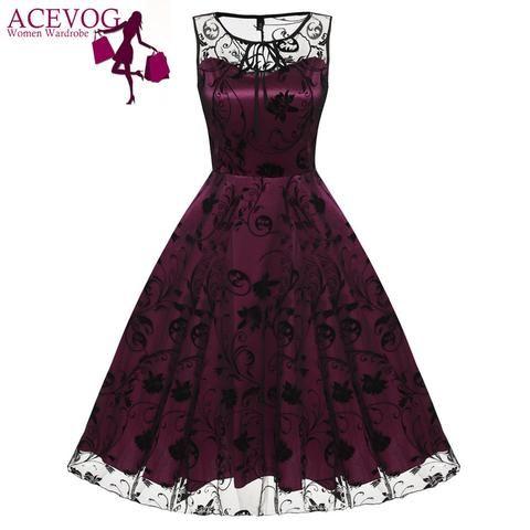 ACEVOG Retro Women Vintage Style Sleeveless Mesh Dress