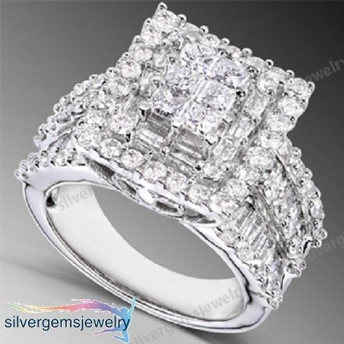 D/VVS1 Diamond Engagement Ring 3 Carat Round Cut 14k White Gold Bridal Jewelry #Silvergemsjewelry #SolitairewithAccents