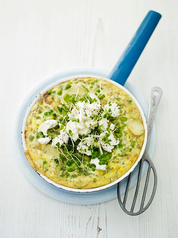 Duck egg frittata with peas & beans