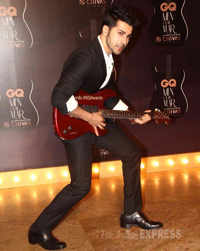 Don't miss Varun Dhawan's rockstar pose at GQ Men's Awards Show 2014.