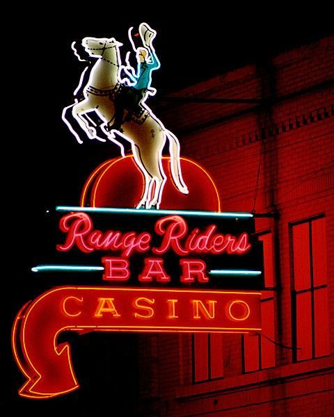 range riders bar casino western vintage neon sign