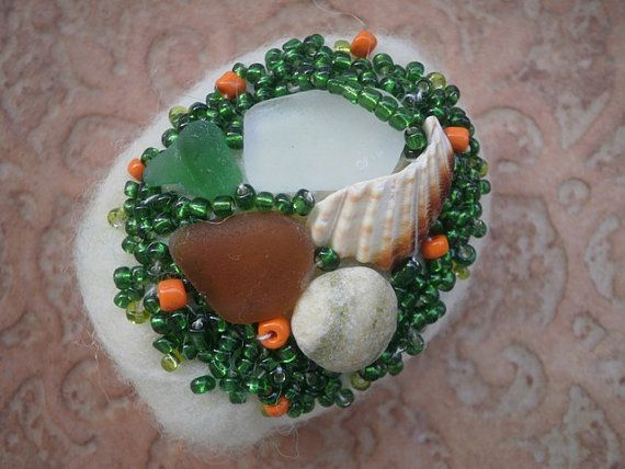Sea glass beaded felted stone ecru felted stone by thalasseaglass, $25.00