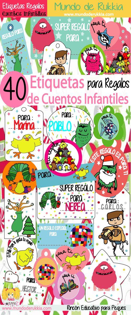 etiquetas regalos, actividades con cuentos, etiquetas imprimibles, etiquetas para imprimir, actividades navidad niños, etiquetas para regalos para imprimir, regalos, cuentos infantiles, monstruo de colores, la pequeña oruga glotona, el pez arcoíris, monstruo rosa, el pollo pepe