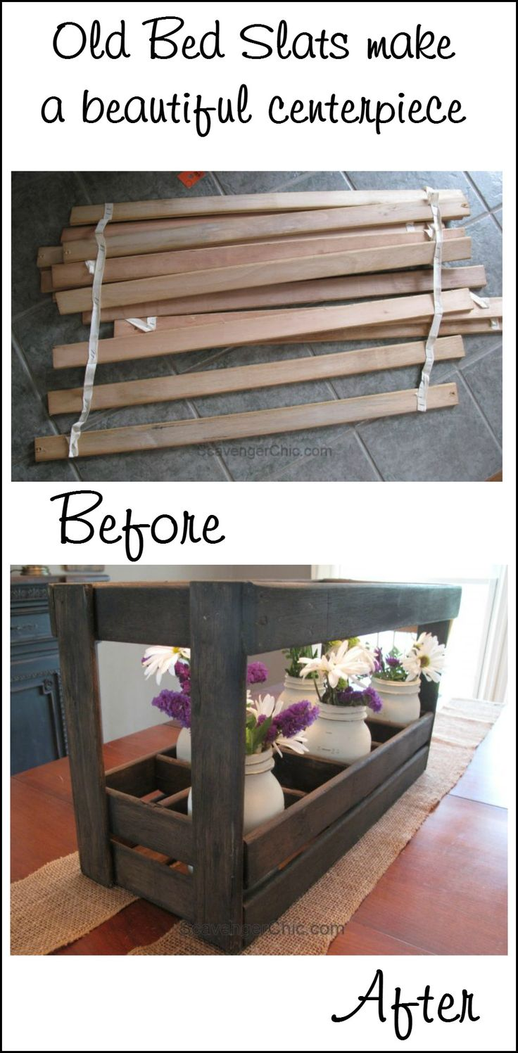 Old bed slats make a beautiful centerpiece (I would use pallet wood!) scavenger chic for MyRepurposedlife.com