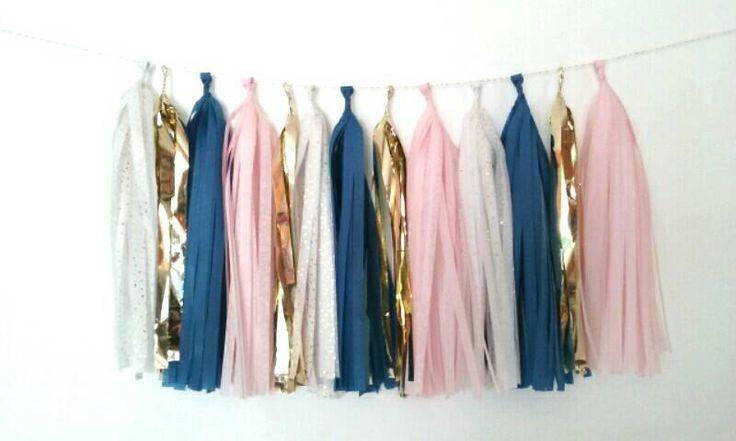 tassel garland - dark blue, blush, ivory gold and gold tassel garland - navy blue and pink tassel garland - pink blue nursery by GLAMLovePARTIES on Etsy https://www.etsy.com/listing/268565150/gender-reveal-tassel-garland-dark-blue