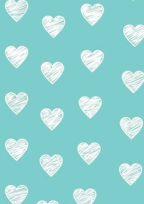 Blue wallpaper and hearts whites ♡