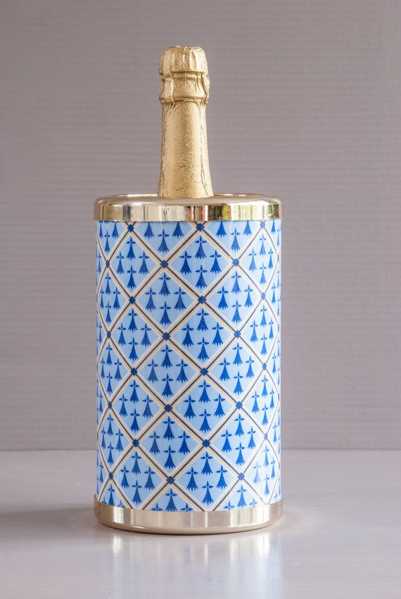 French Bottle Cooler | Breton Decor | Plastic Bottle Cooler | Vintage Barware | French Wine Cooler | Champagne Cooler | Ermine Coat of Arm