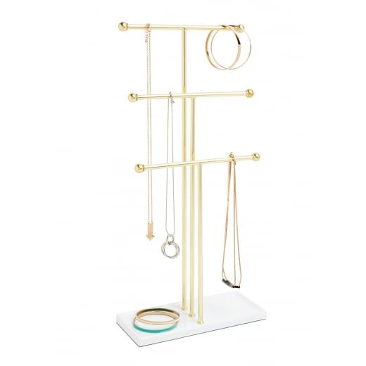 Store and display your treasures on this 3 tier umbra trigem jewellery stand in white and brass ideal for a dressing table view it now at hurn and hurn