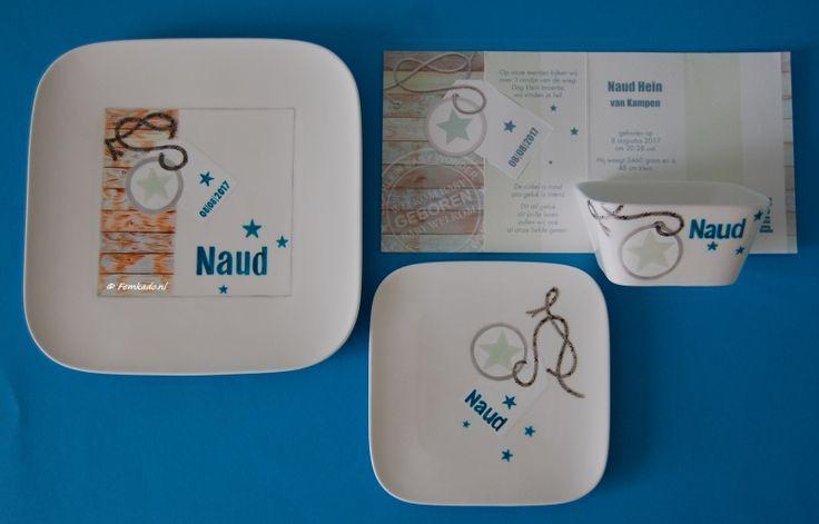 Femkado bewerkt serviesgoed tot een uniek en persoonlijk geschenk voor geboorte, doopfeest en verjaardag. Kijk op Femkado.nl