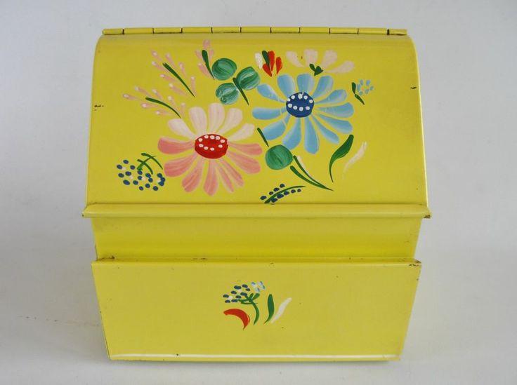 Vintage Ransburg Yellow Floral Metal Recipe Box Ransburg