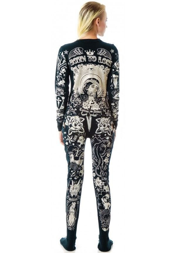 Too Fast pajama pajamas skeleton one piece tattoo rockabilly pants top gothic   eBay