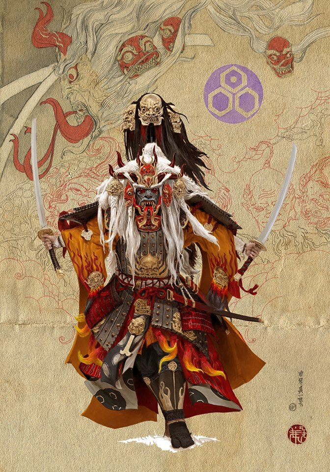 Samurai Inspired Art by Adrian Smith @risingsunboardgame  ● More Samurai Art @ http://yellowmenace8.blogspot.com/2015/05/art-samurai-inspired.html  #Yellowmenace #Samurai