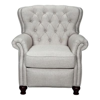 Features:  -Top grade high thread count linen.  -Superior comfort and support.  -Hand applied silver nail-head trim.  -Genuine Leggett & Platt three-position reclining mechanism with extended footrest
