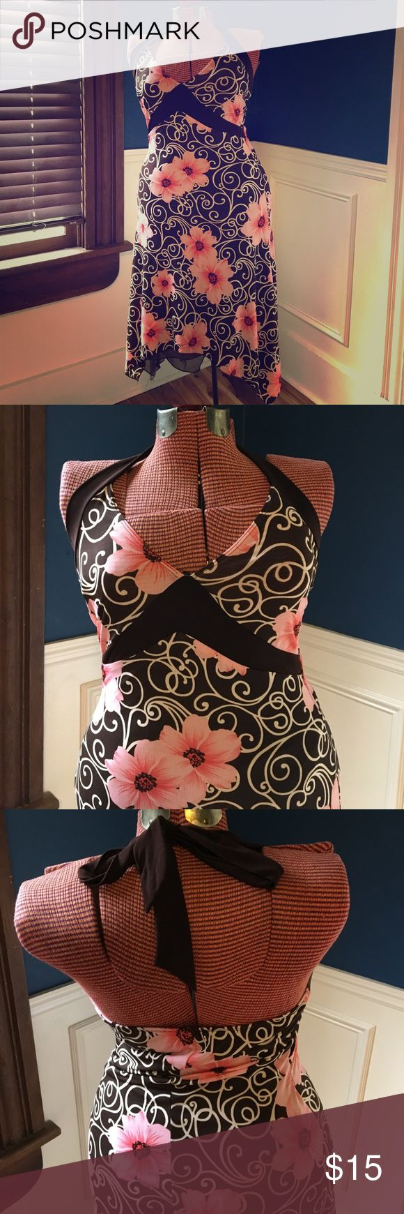 Vintage Halter Dress, Brown and Pink Flowers Handkerchief hem halter dress by Moa Moa, vintage late 90s, which is cute for a date night or just a casual day out. Dress is made of a poly stretch knit which will accommodate a range of sizes, but is marked M. Appears to be in perfect condition, but one hanger strap has been removed. Obviously that doesn't affect the integrity of the dress. This is a super cute and comfortable one - I can't wear halter is anymore due to neck problems, I'm sad to…
