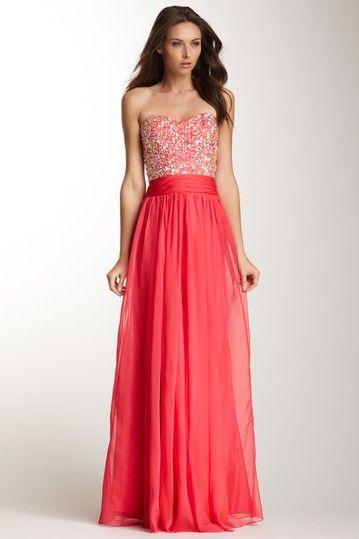 La Femme Rhinestone Encrusted Sweetheart Dress by La Femme on @HauteLook