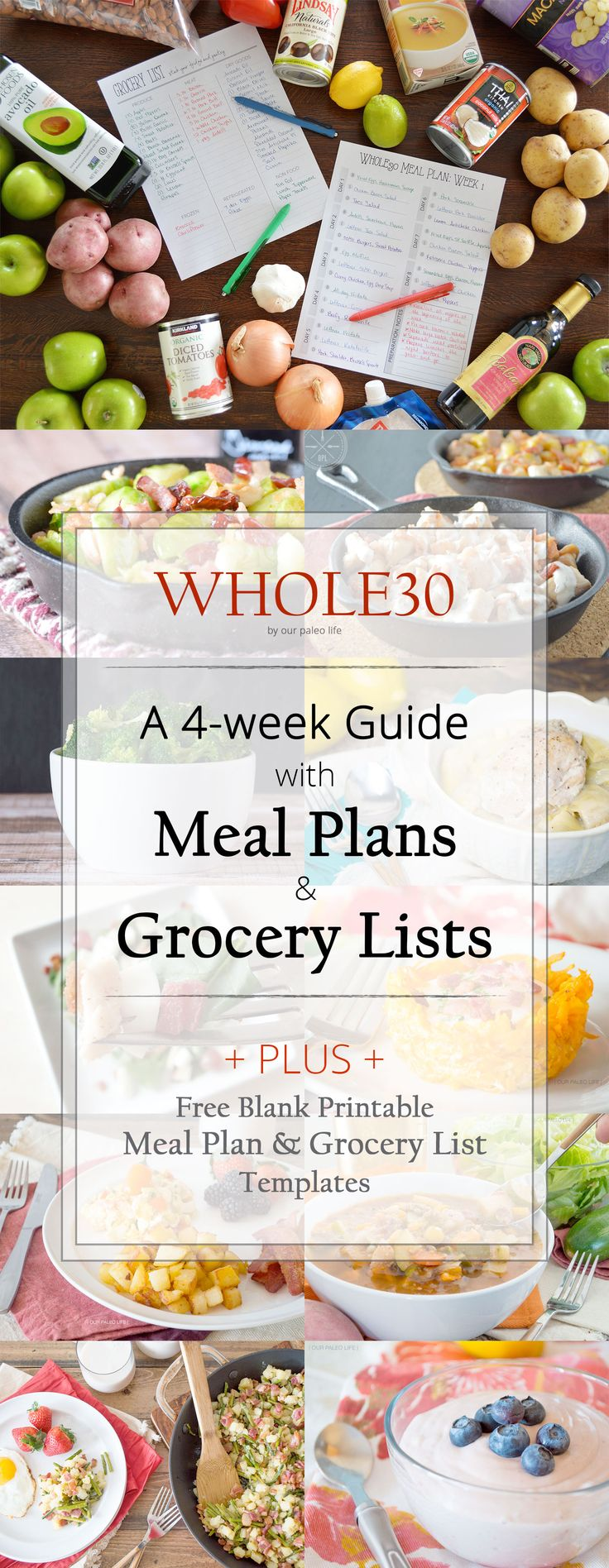 Whole30 Meal Plan & Grocery List   4 individual weeks of meal plans and grocery lists #whole30 #paleo