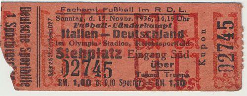 Eintrittskarte-Fussball-Laenderspiel-1936-Italien-Deutschland-Olympia-Stadion
