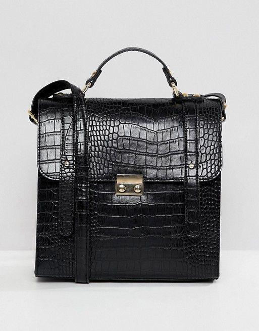 e7d08858f3 ASOS DESIGN push lock satchel in croc