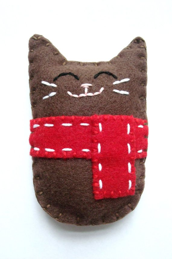 "Winter Felt Cat Plush Doll Christmas Felt Animal Made to Order By AmeliaAndBrother @Etsy: Price: $10.00. Made to order: This listing is for an adorable plush cat made of felt. He is so happy to have his warm red scarf during the chilly winter months. This piece has been hand cut and hand sewn with hand embroidered details. Approx dimensions: 2 1/4"" x 4 1/2""n (7cm x 11.4cm)"