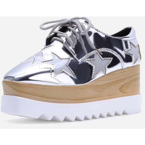 Silver Square Toe Star Patch Wedge Oxfords ❤ liked on Polyvore featuring shoes, oxfords, silver oxfords, wedge oxfords, oxford shoes, wedge heel shoes and wedge sole shoes
