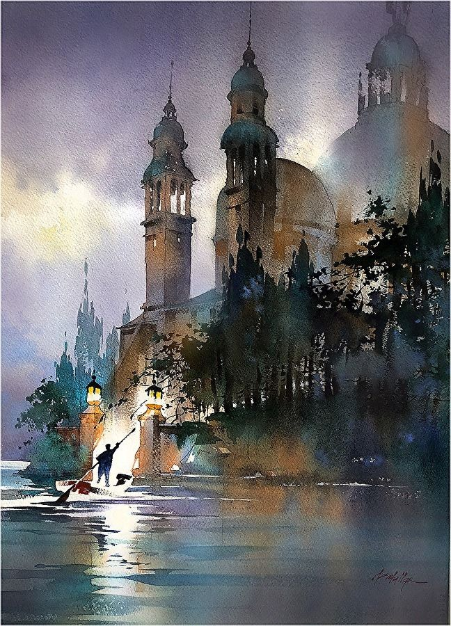 Epingle Par Kneeal Sur Watercolor Paysage Aquarelle Aquarelle