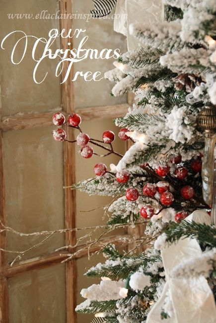 {Ella Claire}: Details of Our Christmas Tree - I love the heavy flocking, rustic elements, and crisp Christmas morning feel
