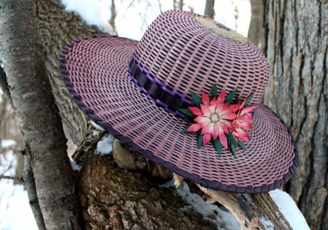 Sweetgrass and black ash hat with lotus flower detail. Made by Mohawk basket maker, Ann Mitchell.
