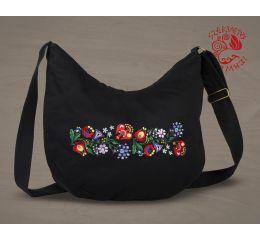 Szervető-kalocsai félhold táska - fekete, futómintás