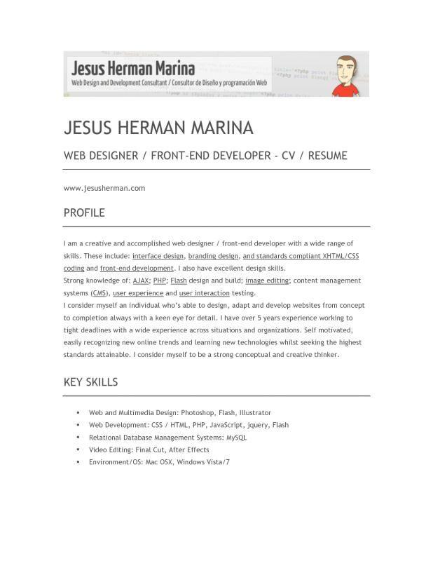 Front End Developer Resume Web Developer Resume Resume Examples Resume Skills