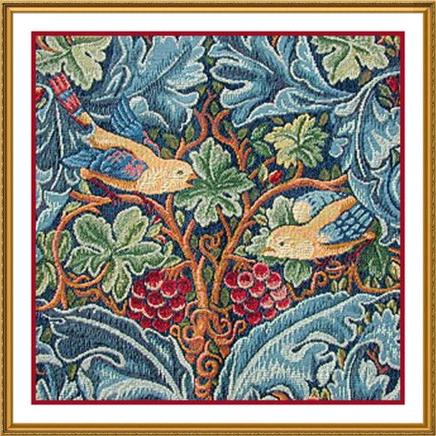 William Morris's Acanthus Leaves in Blues and Green Counted Cross ...