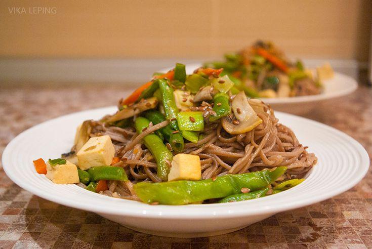 Гречневая лапша Соба с овощами и сыром Тофу - очень вкусное блюдо за 30 минут, отличный пошаговый рецепт с фото