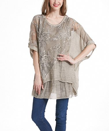 This Khaki Floral Lace Layered Dolman Tunic is perfect! #zulilyfinds