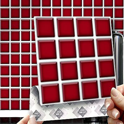 8 Red Mosaic Stick On Wall Tile Stickers Transfers For Kitchens Bathrooms