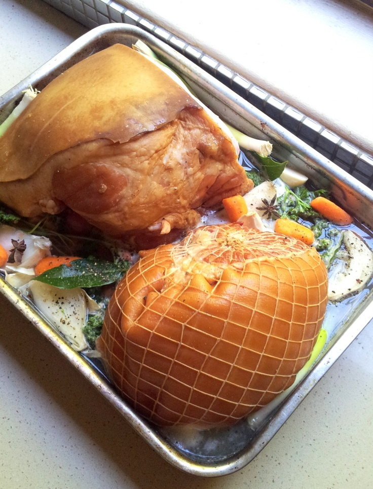 #Christmas gammons, ready to be slow-baked for many hours in a bath of aromatic stock.