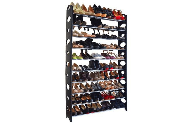 Maison Condelle 50-Pair Shoe Rack----Show off your favorite shoes while keeping them organized with this black shoe rack! Made from the finest materials to ensure durability, its beautiful design complements almost all your interiors. The stylish, functional and cost-effective shoe rack can be yours for only $49, shipping included.