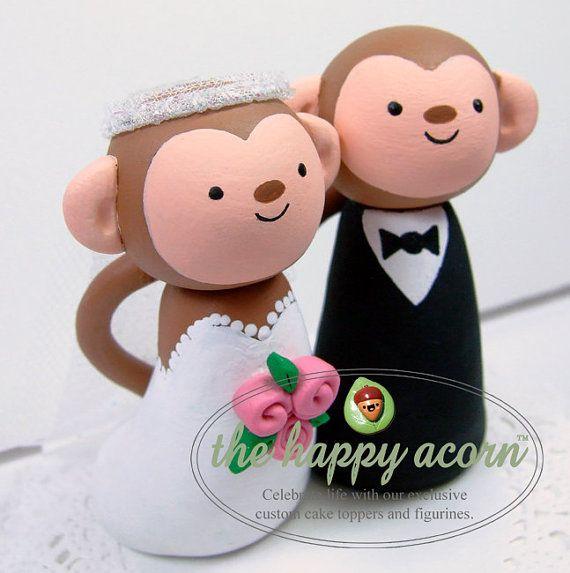 I love monkeys!!! Monkey Wedding Cake Topper Monkeys Handmade by by TheHappyAcorn, $98.00