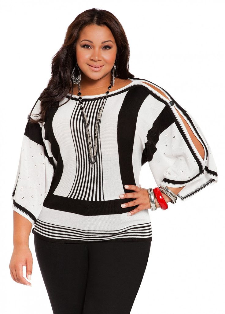 Black and white cut out sleeve shirt Plus Size Fashion Unique Style Inspiration Urban Apparel #UNIQUE_WOMENS_FASHION