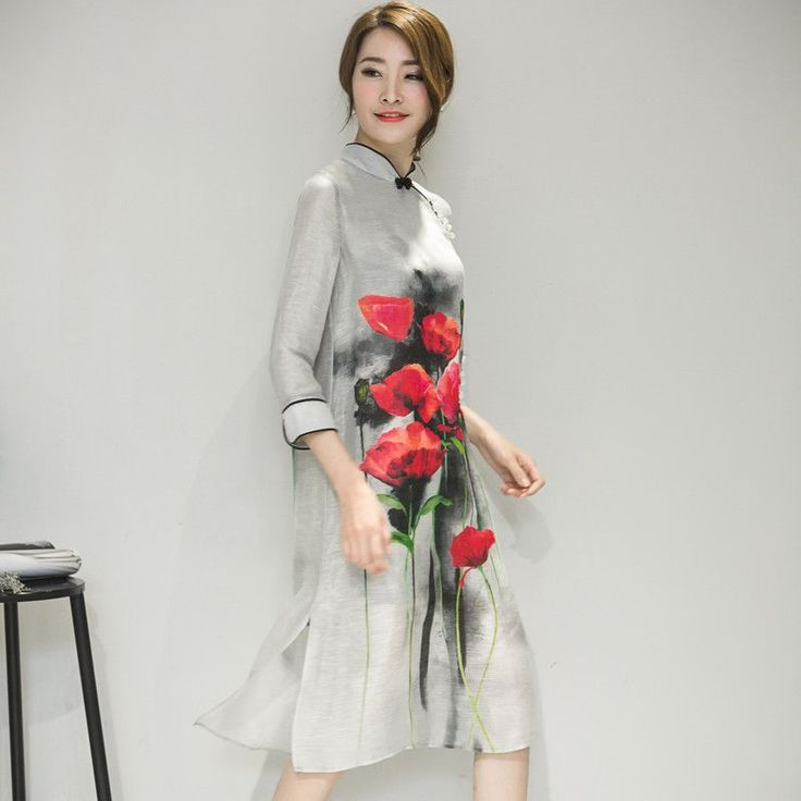 Chinese Women's Satin Cheongsam Qipao Evening Dress Women Oriental Traditional Chinese Dress Fr598