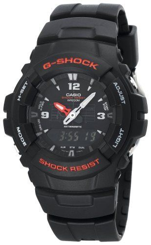 Casio Men's G100-1BV G-Shock Classic Ana-Digi Watch Casio. $58.51. Resin case; black dial. Protective mineral crystal protects watch from scratches. Case diameter: 47 mm. Reliable Analog movement