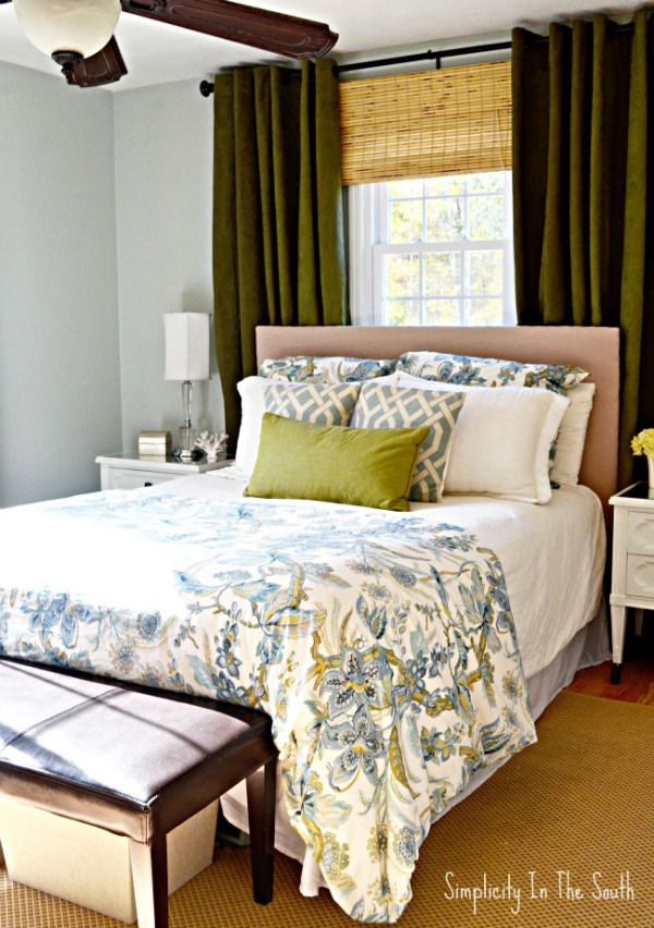 Master Bedroom In Blues And Greens This Color Palette Makes The Room Feel Like A Restful