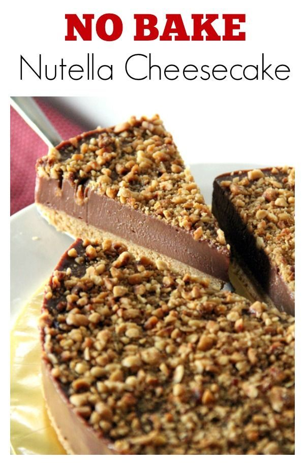 Nutella cheesecake - no bake and loaded with Nutella, cream cheese and toasted hazelnuts. Get recipe! rasamalaysia.com