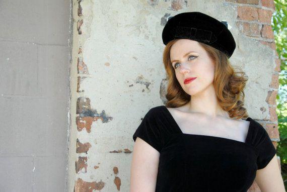Black velvet 1950s hat, formal beret
