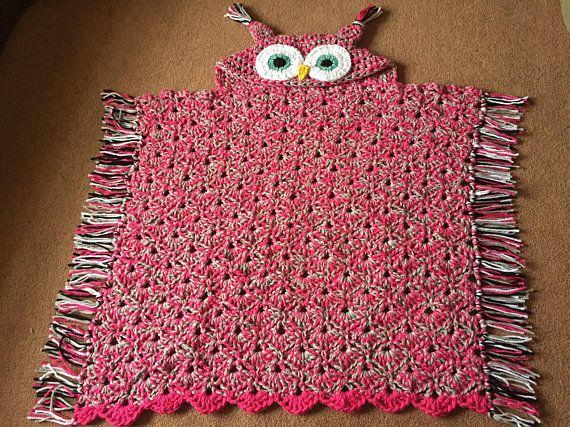 Hooded Owl Blanket, Crochet Blanket, Chunky Owl Blanket, Adult size