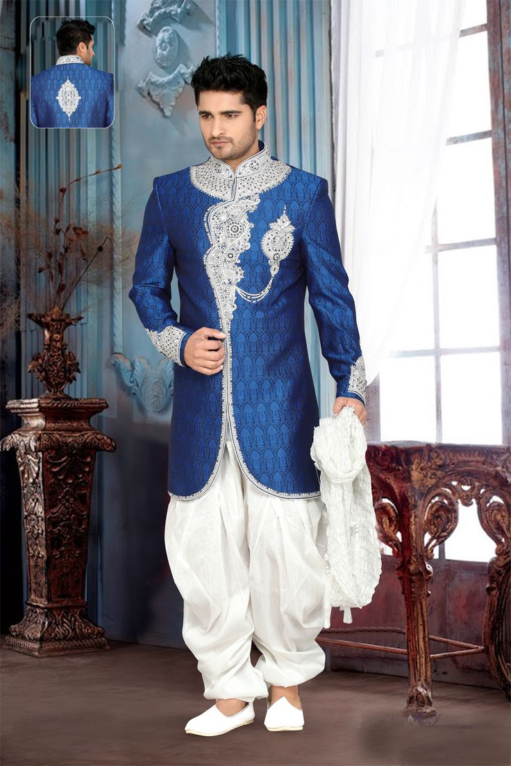 Don this Blue Brocade Art Silk Indo Western and make timeless memories!! Check the entire Indo Western collection at Nihalfashions.com, today!! #indowestern #indowedding #brocade #weddingdress #wedding #fashion #fashionista #mensfashion #NihalFashions