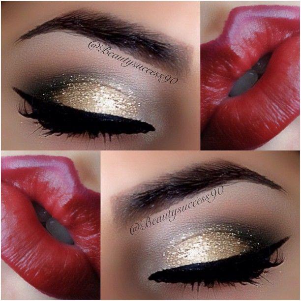 Gold & black eyeshadow w/ an intense red lip!