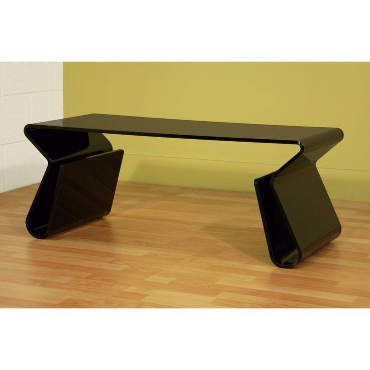 Baxton Studio Acrylic Black Coffee Table with Magazine Rack - FAY-9948-black