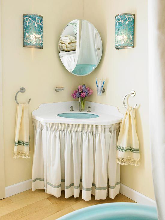 Open a small, square bath to smoother traffic flow by positioning the vanity in a corner: http://www.bhg.com/bathroom/small/make-a-small-bath-look-larger/?socsrc=bhgpin032914cornerunit&page=15